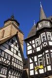 Town Hall and Walpurgiskirche in Old Town in Alsfeld. Historic Marktplatz  in Alsfeld in Germany Stock Photos