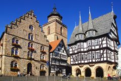 Town Hall, Weinhaus, oldest timber-framed building and Walpurgiskirche Alsfeld. Royalty Free Stock Photography