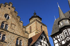 Town Hall, Weinhaus and Walpurgiskirche in Old Town in Alsfeld. Historic Marktplatz  in Alsfeld in Germany Royalty Free Stock Photo