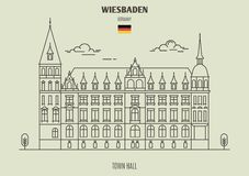 Town Hall in Wiesbaden, Germany. Landmark icon vector illustration