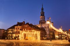 Town Hall With Clock Tower And Christmas Decorations Stock Photography