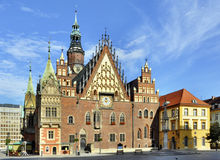 Town Hall in Wroclaw, Poland. Old Gothic town hall in Wroclaw (Breslau) in Poland stock photography