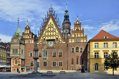 Town Hall in Wroclaw, Poland. Old Gothic town hall in Wroclaw (Breslau) in Poland royalty free stock image