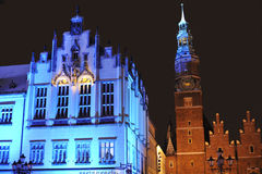 Town Hall in Wroclaw on Silvester Eve. Image was taken 31.12.2010 on the marketplace in Wroclaw during the New Year Eve celebrations Royalty Free Stock Photos