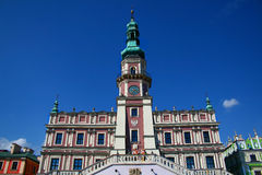 Town Hall in Zamosc. Zamosc, Poland - August 11, 2013: Town Hall located at main Market Square Stock Photos