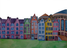 Town. Hand painted watercolor dream town Royalty Free Stock Photography
