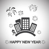 Town, happy new year Stock Images