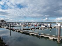 Town harbour filled with boats and fishing vessels in Malahide, Co. Dublin, Ireland, stock image