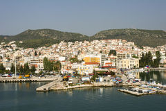 Molyvos or Mithymna, Lesbos, Greece. The town and harbour of the town of Molyvos or Mithymna on Lesbos or Lesvos island, Greece stock images