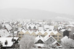 Town Herborn, Hesse, Germany. Snowcapped houses in town Herborn, Hesse, Germany royalty free stock images