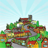 Town on the hill. A small community town or village built on top of a hill. Fully scalable vector illustration vector illustration