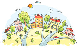 Town on a hill. Cartoon town on a hill royalty free illustration