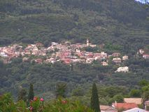 A town on a hill in Greece stock photo