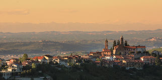 Town on the hill. Piedmont, Italy. Stock Photo