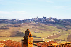 Town on the hills seen from rooftops Stock Image