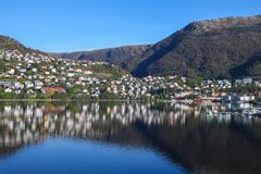 Town on the hills of Sognefjord scenery, Norway, Scandinavia Royalty Free Stock Photography