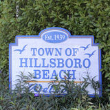Town of Hillsboro Beach Sign. Hillsboro Beach, FL, USA - February 12, 2014: Established 1939, Town of Hillsboro Beach decorated sign welcoming people to this Royalty Free Stock Photos