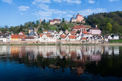 Town of Hirschhorn Hesse Germany. Ancient town village of Hirschhorn in Hesse district of Germany on banks of Neckar river royalty free stock images