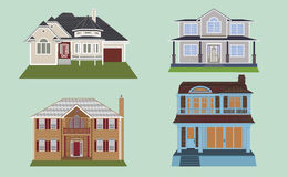 Town house cottage and assorted real estate building icons Stock Photo