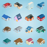 Town house cottage set icons, isometric 3d style Royalty Free Stock Photography