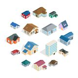 Town house cottage set, isometric 3d style. Town house cottage and assorted real estate building icons set in isometric 3d style Royalty Free Stock Image