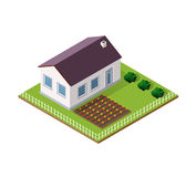 Town House in isometric. View with trees and garden Stock Image