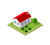 Town House in isometric. View with trees and garden Royalty Free Stock Images