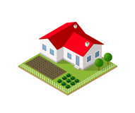 Town House in isometric. View with trees and garden Royalty Free Stock Photo