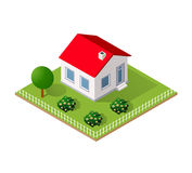 Town House in isometric. View with trees and garden Stock Photo
