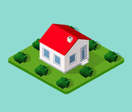 Town House in isometric. View with trees and garden Royalty Free Stock Photos