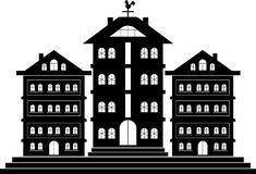 Town House. Tripple Town House Hotel Line,art Black & White On the Sticker Cut logo Royalty Free Stock Photo