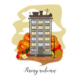 Town house in the vector. Illustration. Rainy autumn. Stock Images