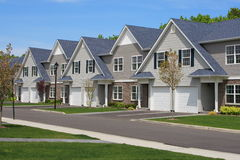 Town Houses. Row of new town homes waiting for occupancy Stock Photo