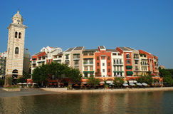 Town houses. Beautiful waterfront town houses over blue sky Stock Photography