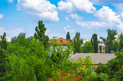 Town houses buried in verdure trees. Town houses buried in verdure trees Royalty Free Stock Images