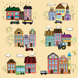 Town houses with different contour colorful trees and cars. A city with different houses outline multi-colored trees and cars Royalty Free Stock Photography
