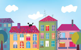 Town and houses facades Royalty Free Stock Image