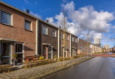 Town Houses Neighborhood. Modern Middle Class Town Houses in a street in the Netherlands, Europe Stock Image