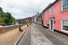 Town Houses in Norwich. Pretty town houses overlooking the River Yare in Norwich stock photo