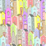 Town houses seamless pattern background. Art illustration Royalty Free Stock Photo