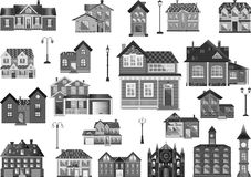 Town Houses. Set of flat town houses and buildings, clip-art in grayscale Royalty Free Stock Photography