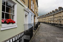 Town Houses and Stone Paved Walkway Royalty Free Stock Images