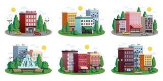 Town Houses Summer Compositions Set. Urban summer colorful compositions set with town center shopping area hotel park residential houses isolated vector Stock Photography
