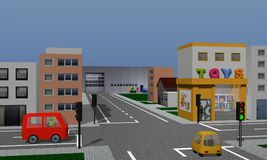 Town with houses, toy shop, company and road crossroads with tra. Ffic lights and cars. 3d rendering Royalty Free Stock Photography