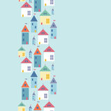 Town houses vertical seamless pattern background. Vector town houses vertical seamless pattern background with hand drawn elements Stock Images