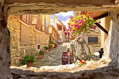 Town of Hum colorful old stone street view through stone window Royalty Free Stock Photos