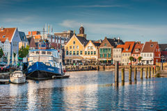 Town of Husum, Nordfriesland, Schleswig-Holstein, Germany. Beautiful view of the old town of Husum, the capital of Nordfriesland and birthplace of German writer royalty free stock photography