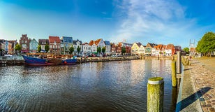 Town of Husum, Nordfriesland, Schleswig-Holstein, Germany. Beautiful view of the old town of Husum, the capital of Nordfriesland and birthplace of German writer royalty free stock photo