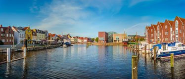 Town of Husum, Nordfriesland, Schleswig-Holstein, Germany. Panoramic view of the old town of Husum, the capital of Nordfriesland and birthplace of German writer Royalty Free Stock Image