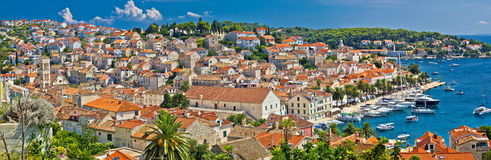 Town of Hvar aerial panorama Stock Photography